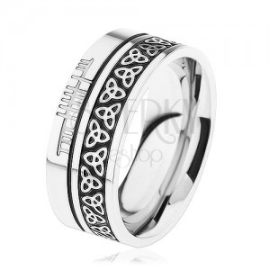 Fényes gyűrű, 316L acél, minta - kelta csomó, ezüst színű keret