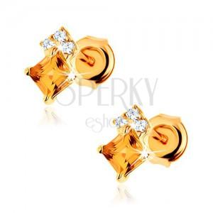 Beszúrós fülbevaló 14K sárga aranyból - négyzetes sárga citrin, átlátszó cirkónia