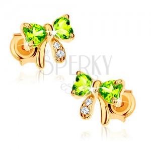 585 arany bedugós fülbevaló - masni világoszöld olivinból