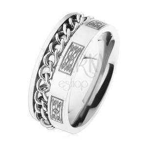 Acél gyűrű lánccal, ezüst szín, minták