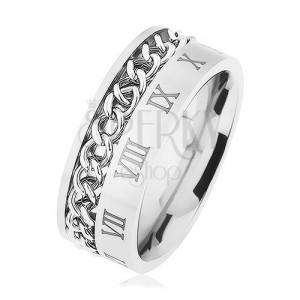 Gyűrű 316L acélból, ezüst szín, lánc, minta - római számok