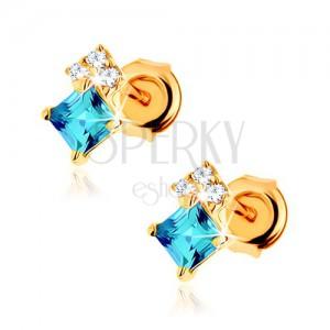 Fülbevaló 14K sárga aranyból, négyzetes kék topáz, átlátszó cirkóniák
