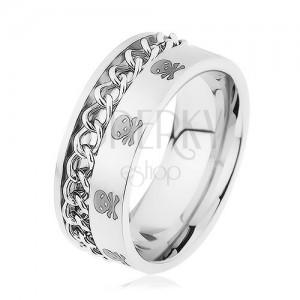 Szélesebb gyűrű, 316L acél, lánc, minta - koponyák és keresztezett csontok