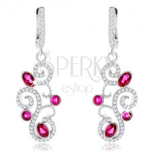 925 ezüst fülbevaló, rózsaszín cirkóniák, csillogó minta átlátszó kivitelezésben