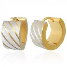 Kerek acél fülbevaló arany színben - ferde bemarások