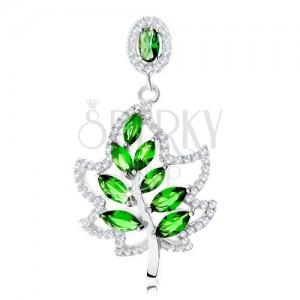 925 ezüst medál, csillogó levél körvonal, fényes szár, zöld cirkóniák