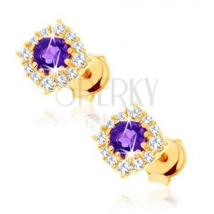 585 arany fülbevaló - kerek, lila ametiszt átlátszó cirkóniás kerettel