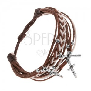 Állítható karkötő, madzagok, barna és fehér, Krisztus a kereszten - medál