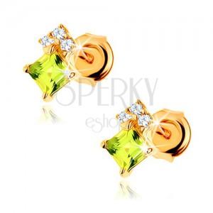 Fülbevaló 14K sárga aranyból - négyzet alakú olivin világoszöld színben, átltászó cirkóniák