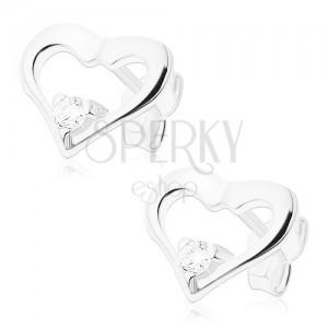 Bedugós fülbevaló 925 ezüstből, fényes szív kontúr átlátszó cirkóniával