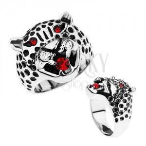 Masszív gyűrű, 316L acél, leopárdfej, piros cirkóniák
