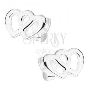 Fülbevaló 925 ezüstből, két összekapcsolt szív körvonal, stekkerek
