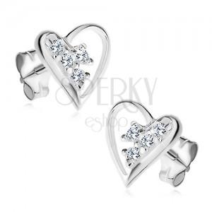 925 ezüst fülbevaló, egyenetlen szív körvonal, átlátszó cirkóniák