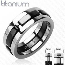 Titanium gyűrű fekete kidomborodó sávokkal