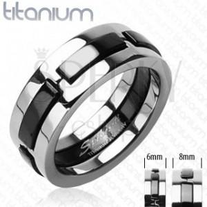 Titánium gyűrű - megszakított onyx vonalak