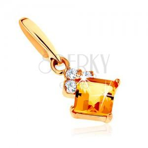 585 arany medál - négyzetes sárga citrin, átlátszó csillogó zikóniák