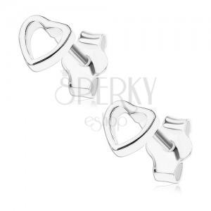 Fülbevaló, 925 ezüst, kicsi egyenletes szív - kontúr