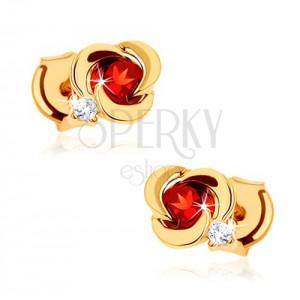 585 arany fülbevaló - virág sima szirmokkal és kerek piros gránáttal