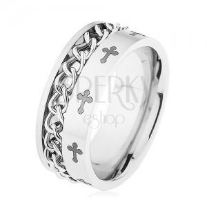 Gyűrű 316L acélból, ezüst szín, lánc, liliom kereszt