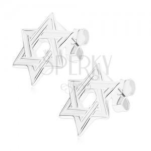 Bedugós fülbevaló, 925 ezüst, lapos hatágú csillag, fényes szélek
