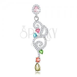 Medál 925 ezüstből, átlátszó csillogó spirálok, színes cirkóniák - könnycseppek, szívek