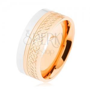 Fényes gyűrű, 316L acél, kétszínű kivitelezés, kelta minta