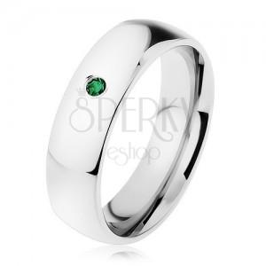 Tükörfényes gyűrű acélból, ezüst szín, apró sötétzöld cirkónia