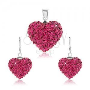 Szett 925 ezüstből, fülbevaló és medál, lila szívecske kristályokkal