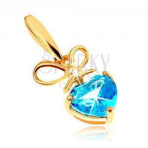 585 arany medál - masni és szívecskés topáz kék árnyalatban