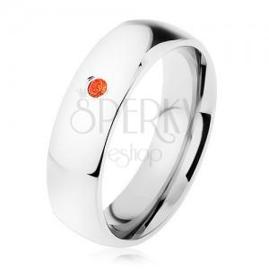 Gyűrű 316L acélból, piros cirkónia, magas fény