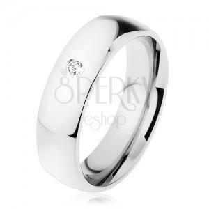 Acél gyűrű, ezüst szín, átlátszó cirkónia, 6 mm