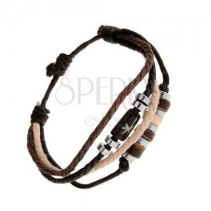 Zsinóros karkötő, állítható, bézs, barna és fekete szín, gyöngyök