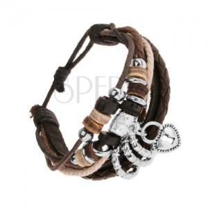 Multikarkötő - fekete bőr sáv, zsinórok acél és fa gyöngyökkel