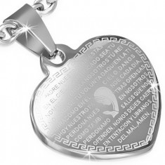 Acél medál, lapos szív ezüst színben, imaszöveg