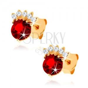 Fülbevaló 14K sárga aranyból - kerek gránát piros színben, átlátszó korona
