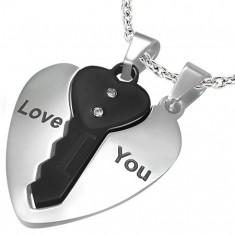 Acél medálok pároknak, szív ezüst színben és fekete kulcs