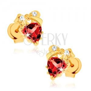 Fülbevaló 14K sárga aranyból - piros szív gránátból, masni, átlátszó cirkóniák