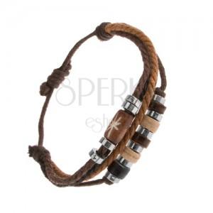 Állítható karkötő zsinórokból barana és fekete színben, acél és fa gyöngyök