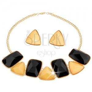 Szett nyakékből és fülbevalóból, csiszolt téglalapok és háromszögek, fekete és világossárga