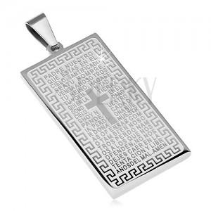 Medál sebészeti acélból, téglalap alakú tábla imaszöveggel és kereszttel
