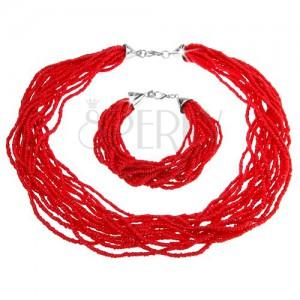Szett, karkötő és nyakék, apró gyöngyökből álló köteg, piros szín