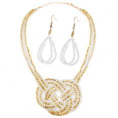 Szett - fülbevaló és nyakék, gyöngyök - arany és fehér szín, fonott minta