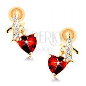 Fülbevaló 14K sárga aranyból - cirkóniás szalag, piros gránát szív