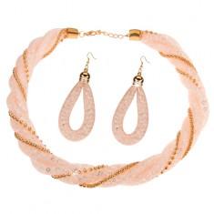 Szett nyakékből és fülbevalóból, világosrózsaszín háló átlátszó kristályokkal, láncok