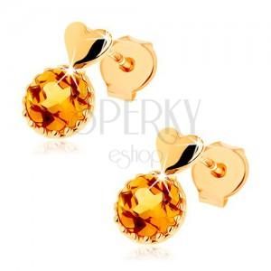 Bedugós fülbevaló 14K sárga aranyból - kicsi, kidomborodó szív, kerek sárga citrin