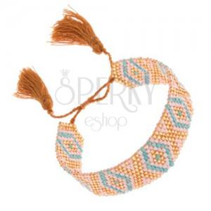 Csillogó gyöngyös karkötő, türkiz-fehér-arany szín indián minta