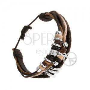 Multikarkötő fekete bőr sávból és zsinórokból, fa és acél díszek