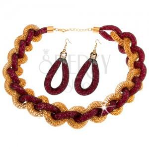 Szett - nyakék, fülbevaló, fonott lánc, háló, rózsaszín gyöngyök