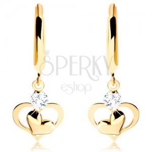 585 arany fülbevaló - fényes karika lógó szívecskékkel és átlátszó cirkóniával