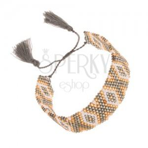 Gyöngyös karkötő, arany szín, fehér és zöldesszürke szín, indián minta